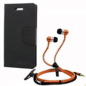 Aart Fancy Wallet Dairy Jeans Flip Case Cover for SamsungA5 (Black) + Zipper Earphones/Hands free With Mic *Stylish Design* for all Mobiles- computers & laptops By Aart Store.