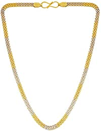 DzineTrendz Dual Tone Gold Covered Brass Necklace Stylish Fashion Chain Necklace For Men Women Girls