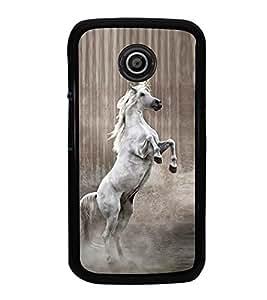 Fuson Premium 2D Back Case Cover Jumping Horse With Brown Background Degined For Motorola Moto E2::Motorola Moto E (2nd Gen)