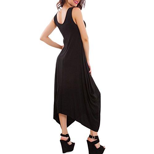 Toocool - Abito donna lungo vestito asimmetrico spalline sottili estivo nuovo JL-9735 Nero