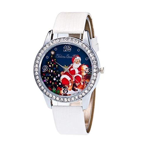 JUNGEN Santa Uhr Weihnachts Schmuck Vintage Geschenk für Weihnachten Dekoration, Weiß