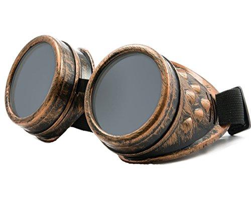 S Schutzbrille Schweißen Goth cosplay STEAMPUNK COSPLAY GOTH ANTIQUE VICTORIAN WITH SPIKES Includes FREE set Lense Shades UV400 Protection Morefaz(TM) (Copper) (Steampunk-für Männer)
