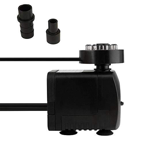 keruite Mini Wasserpumpe Tauchpumpe Unterwasser Wasserspielpumpe mit LED-Licht, 840L / H Ultra-leise, 16W Lochung 12 Lampen +3 Lampen EU-Standard mit 2 Düsen -