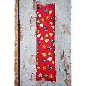 Auto Gurtpolster für Kinder und Erwachsene rot-pink mit bunten Blumen & Herzen