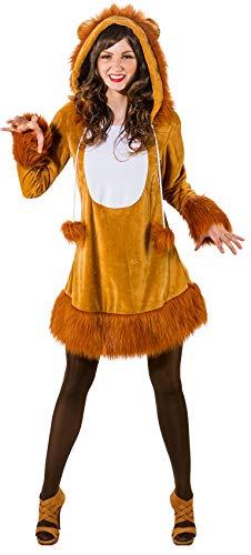 narrenkiste O9167-42-44 braun Damen Sexy Löwen Kleid Kostüm mit Mähne Löwe - Für Erwachsene Sexy Löwen Kostüm