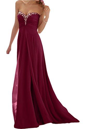 Promgirl House Damen Glamour Traegerlos A-Linie Chiffon Abendkleider Cocktail Ballkleider Lang-38...