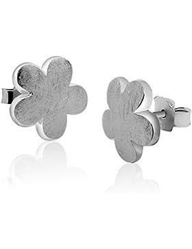 Nenalina Silber Damen-Ohrringe Ohrstecker Blumen Motiv mit gebürsteten Oberflächen, 324408-390