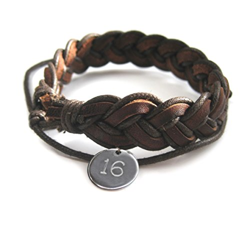 MENS PLEATED LEATHER BRACELET-16TH Birthday-Mens Gift-Engraved-Boys