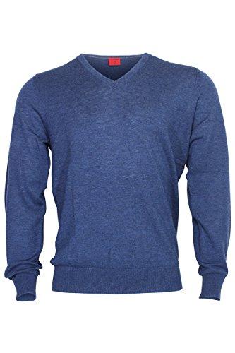 OLYMP Body Fit Pullover V-Ausschnitt Merino/Seide dunkelblau Navy