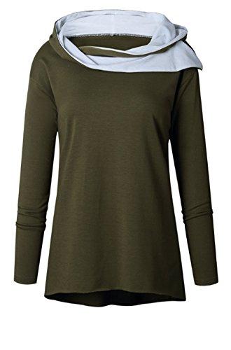 Autunno Inverno Donna Elegante Moda Pullover Maniche Lunghe Sweatshirt Hoodie Casual Maglietta Giacca Cappotti Tops Cappuccio Felpa Verde