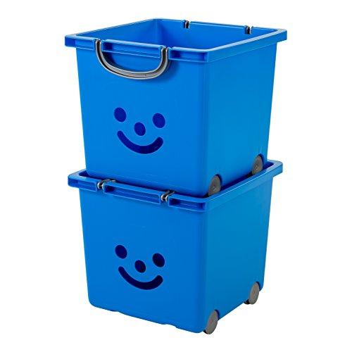 IRIS, 2er-Set Würfelboxen 'Smiley Kids Boxes', KCB-32, Kunststoff, mit Rollen, marineblau, 33 x 32 x 29 cm (Iris Rollen)