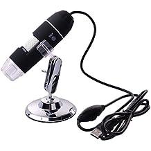 XCSOURCE TE71 Microscope endoscope numérique 8 LED USB 3D à grossissement 20X-800X pour PC, avec caméra et socle