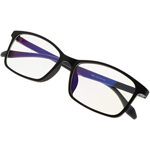 Fenteer Retro Brillen Blaulichtfilter Schutzbrille zum Blockieren von UV-Kopfschmerz, Verringerung der Augenbelastung - brillantes Schwarz, wie beschrieben