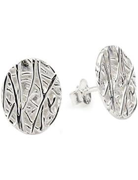 Vinani Damen-Ohrstecker dreidimensionales Baumrindenmuster rund Sterling Silber 925 Ohrringe ORA