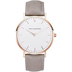 Paul Valentine Bracelet Watch | Marina Rose Gold Grey | with Elegant and timeless design with Grey Real Leather Bracelet
