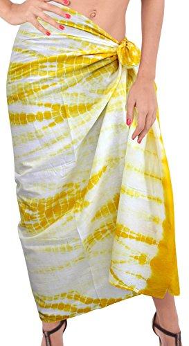 La Leela Badeanzug aus 100% Baumwolle coverup Rockkleid Hand tie dye Sarong  88x42 Zoll Gelb ...