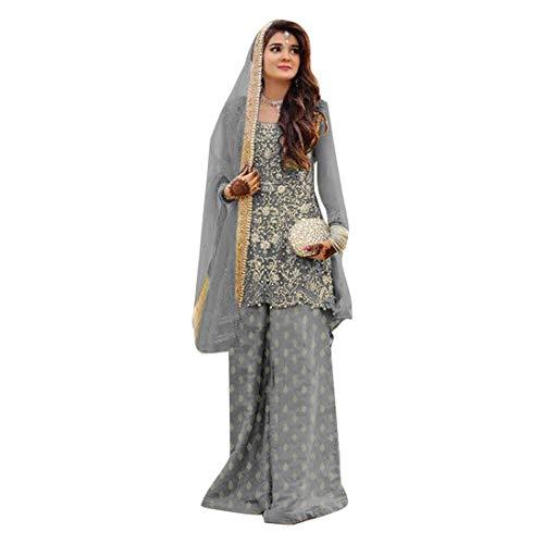Georgette Palazzo Hose (ETHNIC EMPORIUM Grey Indian Straight Kameez Kurti mit Palazzo Hose und passendem Dupatta Bollywood Partykleid Ethnische Frauen kleiden festliches muslimisches Bollywood 8134)
