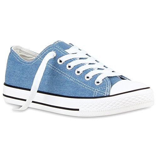 Sportliche Damen Sneakers Kult Nieten Flach Schnürer Schuhe Denim Blau Weiss