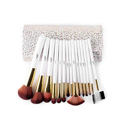 MSQ Make-up Pinsel Set 15pcs professionelle Kosmetik Pinsel mit Make-up Tasche, Soft Natural/Kunsthaar für Foundation, Pulver, BB Creme, Eyeliner, Concealer - White & Gold
