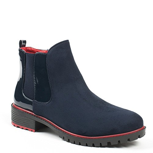 Ideal Shoes–Scarponcini chelsea bi-materiale Ramy Marine