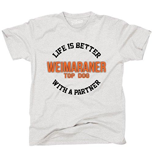 Siviwonder Unisex T-Shirt WEIMARANER - LIFE IS BETTER PARTNER Hunde Ash