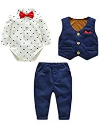 0bd77ee0ac4c Fairy Baby Neonati 3 Pezzi Vestito Formale Toddlers Gentleman Body + Vest +  Pants