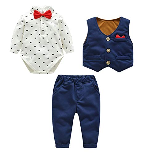 Fairy Baby Neonati 3 Pezzi Vestito Formale Toddlers Gentleman Body + Vest + Pants Size 66(3-6 Mesi) (Blu)