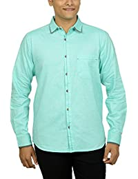 Kuons Avenue Men's Slim Fit Mint Green Self Weave Cotton Silk Traditional Casual Party Shirt