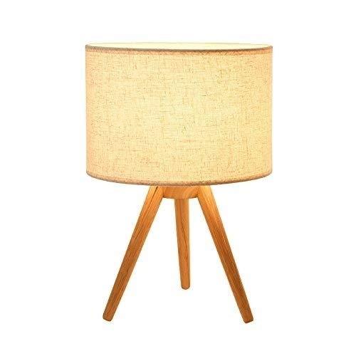 HWZQHJY Vintage Holz Tischlampe, Holz Tischleuchte mit kleinem Tablett, Leinen Trommel Schatten, dimmbare Tischlampe für Home Office Lesestudie Arbeitslampe Licht