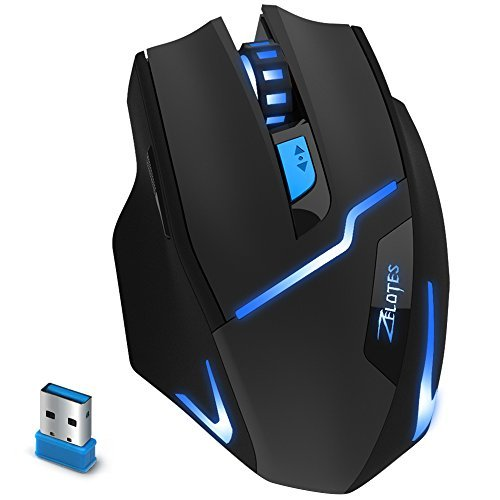2.4 G Wireless Gaming Maus, Mäuse Zelotes Wireless Gaming mit USB-Empfänger, 3 verstellbare DPI-Stufen Gaming Gamer Mäuse, 6 Tasten für Notebook, PC, Laptop, Computer, Macbook-schwarz. ... -