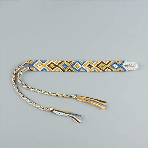 Imagen de pulsera trenzada,vintage cuerda trenzada a mano bangle/bohemio étnicas tejidas macrame cordón amarillo pulseras pulsera para el tobillo/para mujeres, hombres, niños encanto vacaciones de regalo d