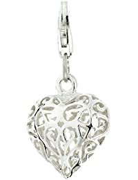 Ornami Filigree Heart Sterling Silver Clip on Charm