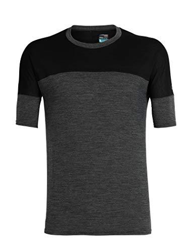 Merino-crew-shirt (Icebreaker Herren Merino Kinetica Ss Crewe, Herren, Kinetica Short Sleeve Crew Neck Shirt, Black Hthr/Black, Small)