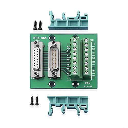 SIENOC D-SUB DB15 Stecker Stecker/Buchse Header Breakout Board Klemmleiste Stecker M/F (DB15-MG6 Adapter) (Db15-adapter)