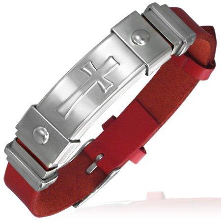 In acciaio INOX e pelle sintetica PU, colore: Rosso/Argento a croce Maltese-Bracciale da donna