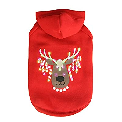 Doggie&Kitty LED Lighting Funny Pet Christmas Costume Clothes Clothing Hoodie for Dog Christmas Reindeer Coat Sweater Red
