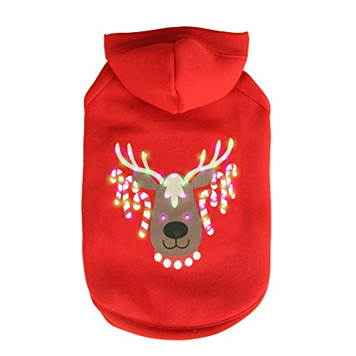 Doggie&Kitty LED Beleuchtung Fustige Haustier Wintermantel Kostüm Kapuzenpulli Kleidung Kapuzenpullover für Hunde Weihnachtsgeschenk Weihnachten Mantel Pullover Rot (Kostüm Die Vor Nacht Weihnachten)