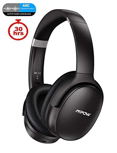 fhörer (ANC), Mpow H10 Bluetooth Kopfhörer Over Ear mit Verbesserte Dual-Mic-ANC-Technologie, 30 Stunden Spielzeit, CSR-Chip, Faltbar für Reise, Arbeit, Schwarz ()