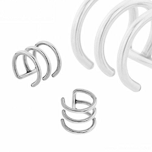 Stahl - Clip On Piercing - 3-reihig (Fake Piercing Ohrclip Ohrpiercing für Damen und Herren silber) 1,6 mm | 14 mm | 14 mm