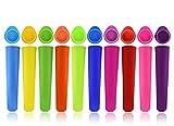 Joyoldelf 10er-Set Eis am Stiel Formen - Wiederverwendbare Stieleisformer aus 100% Lebensmittelsilikon - BPA Frei - Perfekt für Kinder und Erwachsene -