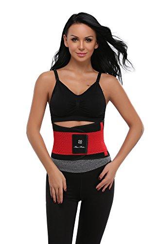 MISS MOLY Waist Trainer|Damen Sport Taillenformer Bauchweg Stark Figurformende Waist Cincher Corset Shapewear Training Fitnessgürtel Rot
