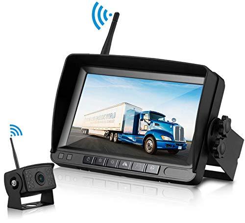 Tuo3eu FHD 1080P Digital Wireless Backup Camera-Kit mit IP65 Wasserdicht,Drahtlos Rückfahrkamera mit 18 IR LEDs Nachtsicht+ 7-Zoll LCD Monitor Einparkhilfe für Kfz/Van/Bus/Anhänger