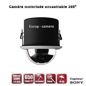 Caméra de vidéo surveillance motorisée PTZ 360° 650 TVL ZOOM X30 Intérieure Encastrable / EC-PTZI30X - vidéo surveillance