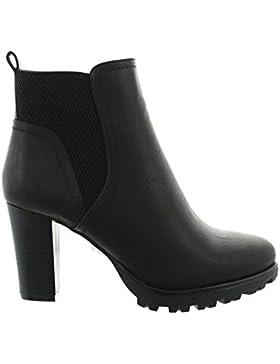 King Of Shoes Damen Stiefeletten Ankle Boots Plateau Stiefel Schuhe 74