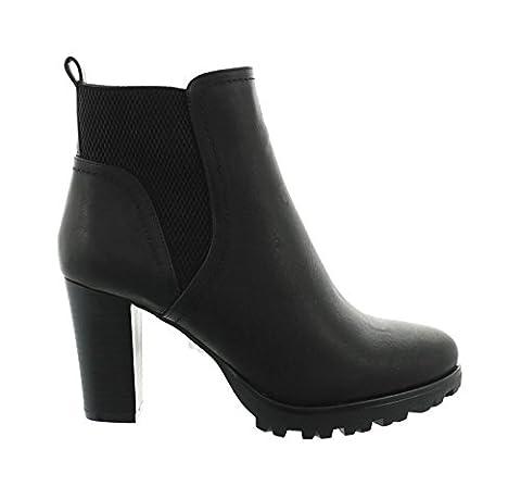 Damen Stiefeletten Ankle Boots Plateau Stiefel Schuhe 74 (41, Schwarz)