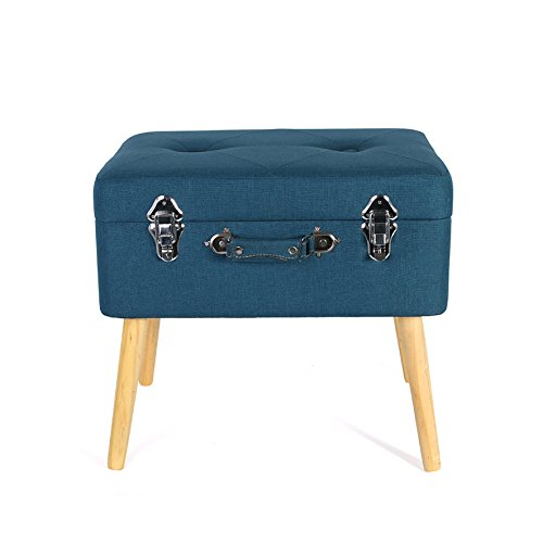 THE HOME DECO FACTORY Truhe Koffer Holz/Polyester, blau, 50,50 x 36 x 45 cm
