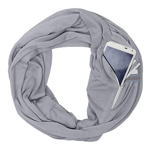 (Damen Mode Solid Loop Zipper Pocket Reißverschluss Geheimtasche Schals Halstücher Weihnachten Cabrio Infinity Schal Winter Warme Kuscheldecke Schal Geschenke Familie Mädchen Frau Mama Freundin (Grau))