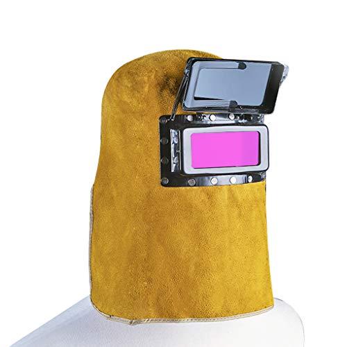 Vkospy Lederkapuze Schweißhelm Maske Automatische Wilding Filter Welder Security Protection Hood Helm -