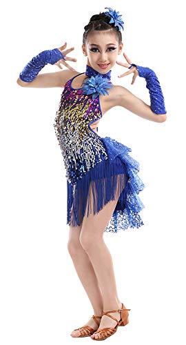 HAPPY CHERRY Mädchen Kleid Latin Tanzkleid Pailletten Gesellschaftstanz Kleider Set Kinder Dancewear-Dunkelblau-130cm