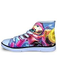 YiqiUime Splatoon Zapatos Ocio del cordón de Zapatos Zapatos de la Zapatilla Zapatos de Lona Diario Salvajes Alto-Top de los Zapatos Planos niños y niñas